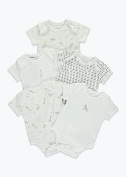 Unisex 5 Pack Animal Print Bodysuits (Tiny Baby-18mths)