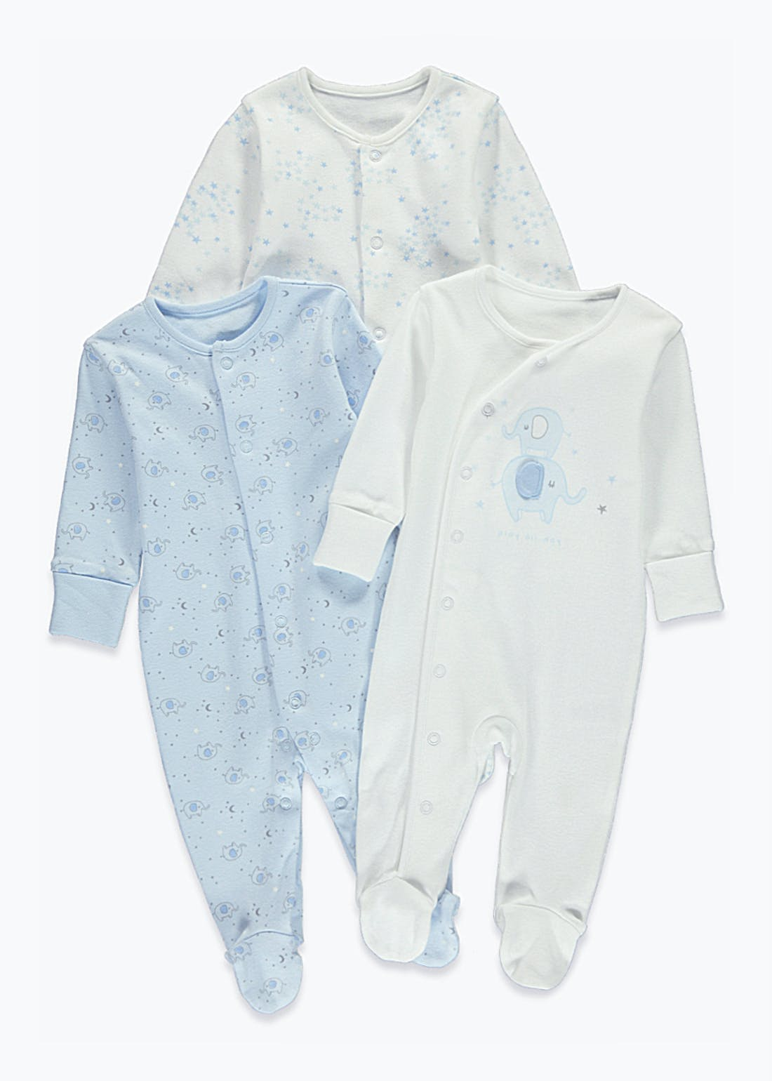 Unisex 3 Pack Elephant Print Baby Grows (Tiny Baby-18mths)