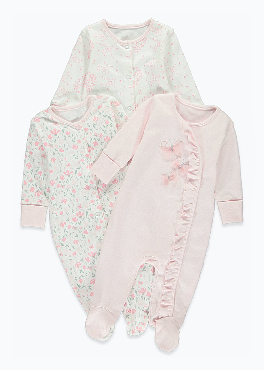 Girls 3 Pack Floral Frill Baby Grows (Tiny Baby-18mths)