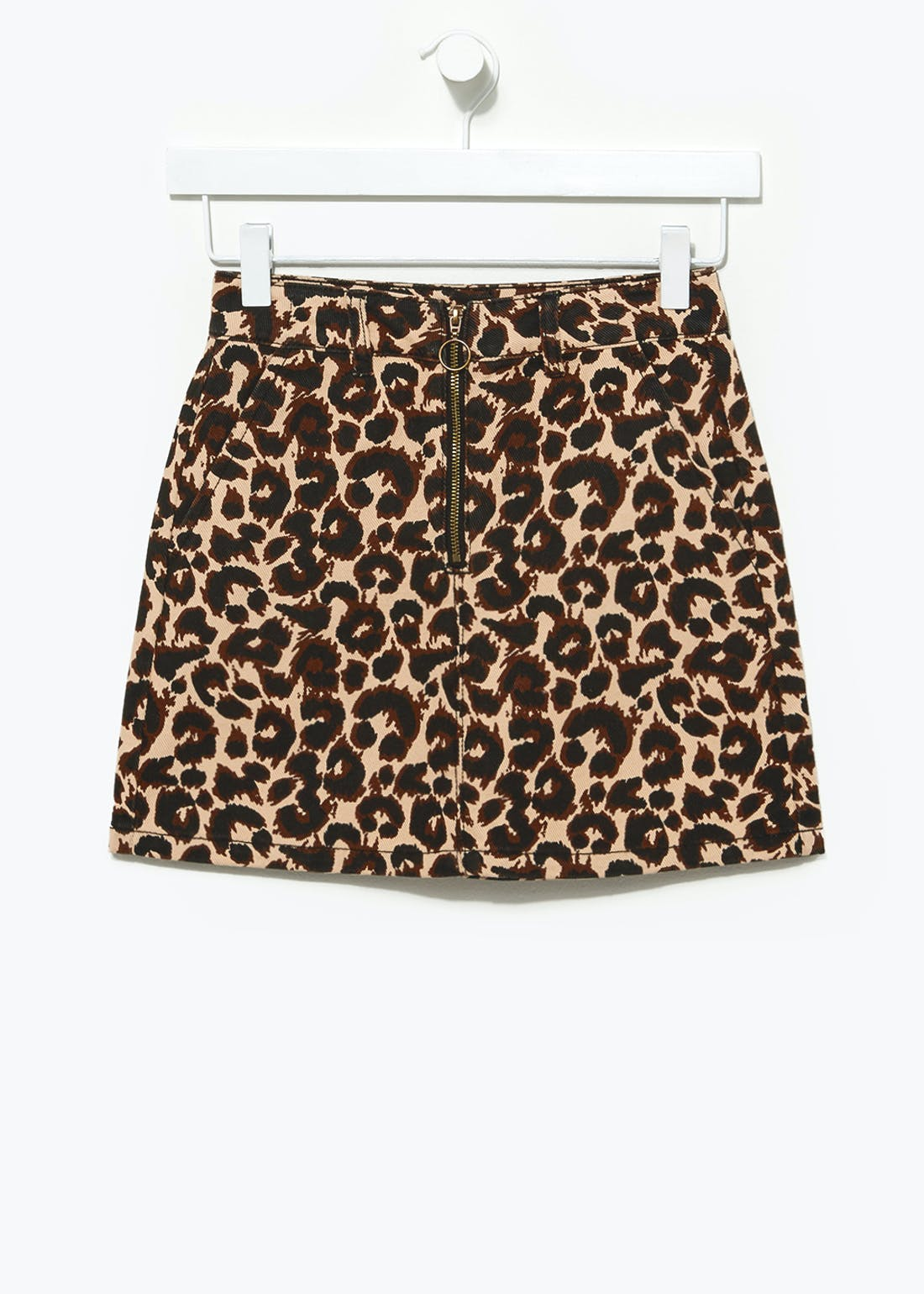 Girls Candy Couture Leopard Print Denim Skirt (9-16yrs)