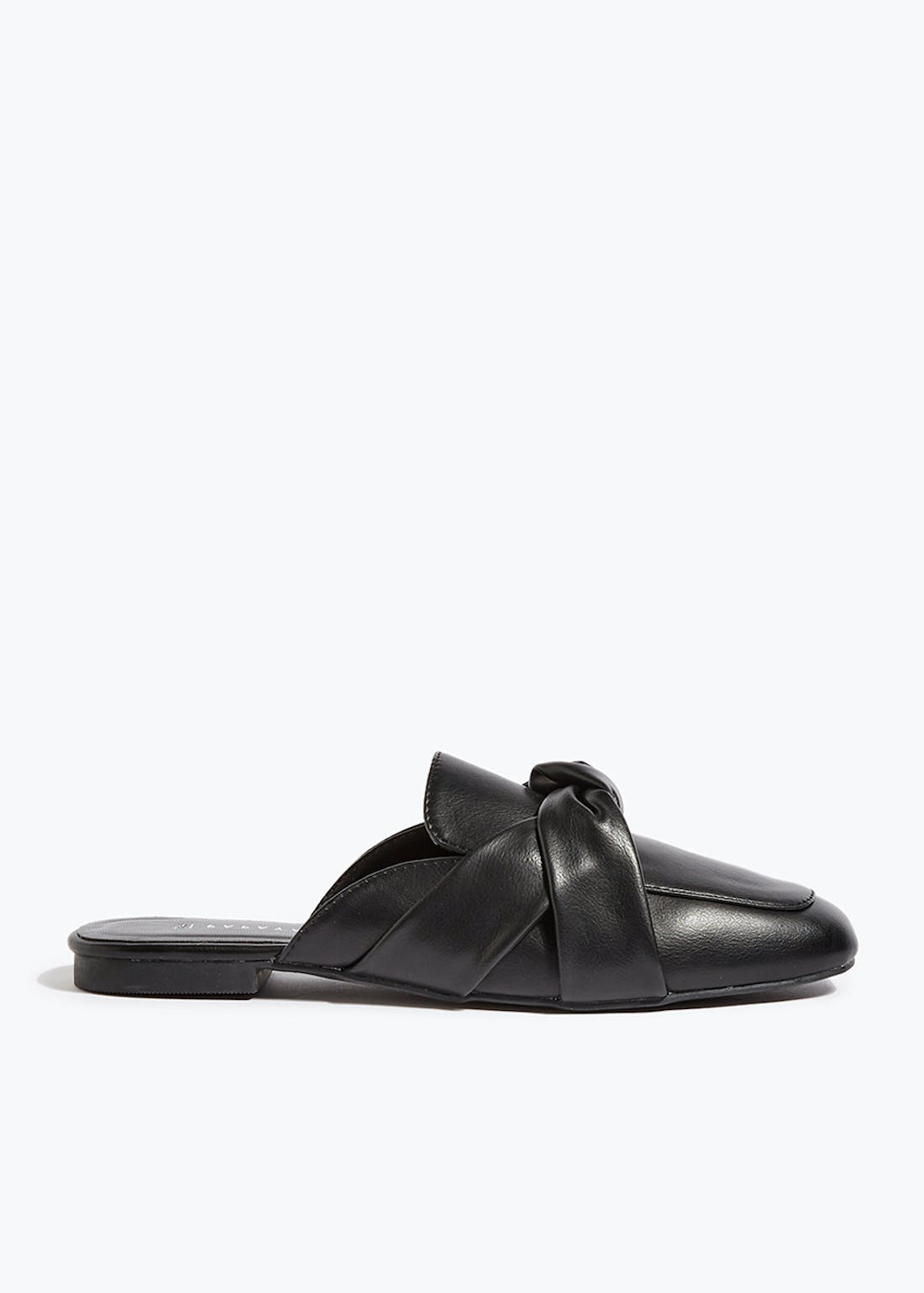 Black Faux Leather Backless Mule Loafers