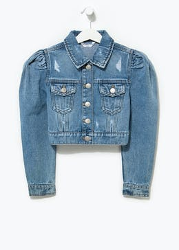 Girls Candy Couture Puff Sleeve Denim Jacket (9-16yrs)