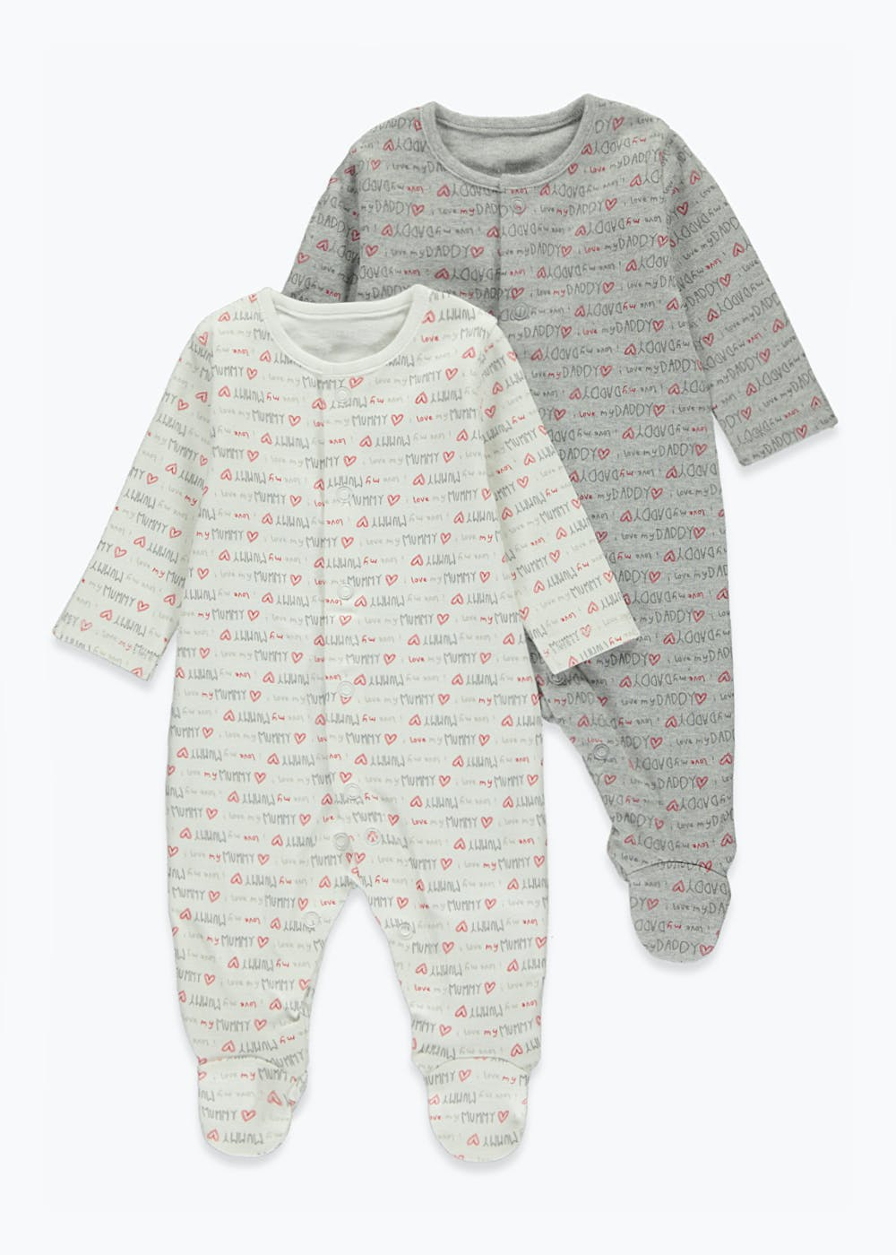 Unisex 2 Pack Mummy & Daddy Baby Grows (Tiny Baby-18mths) – White