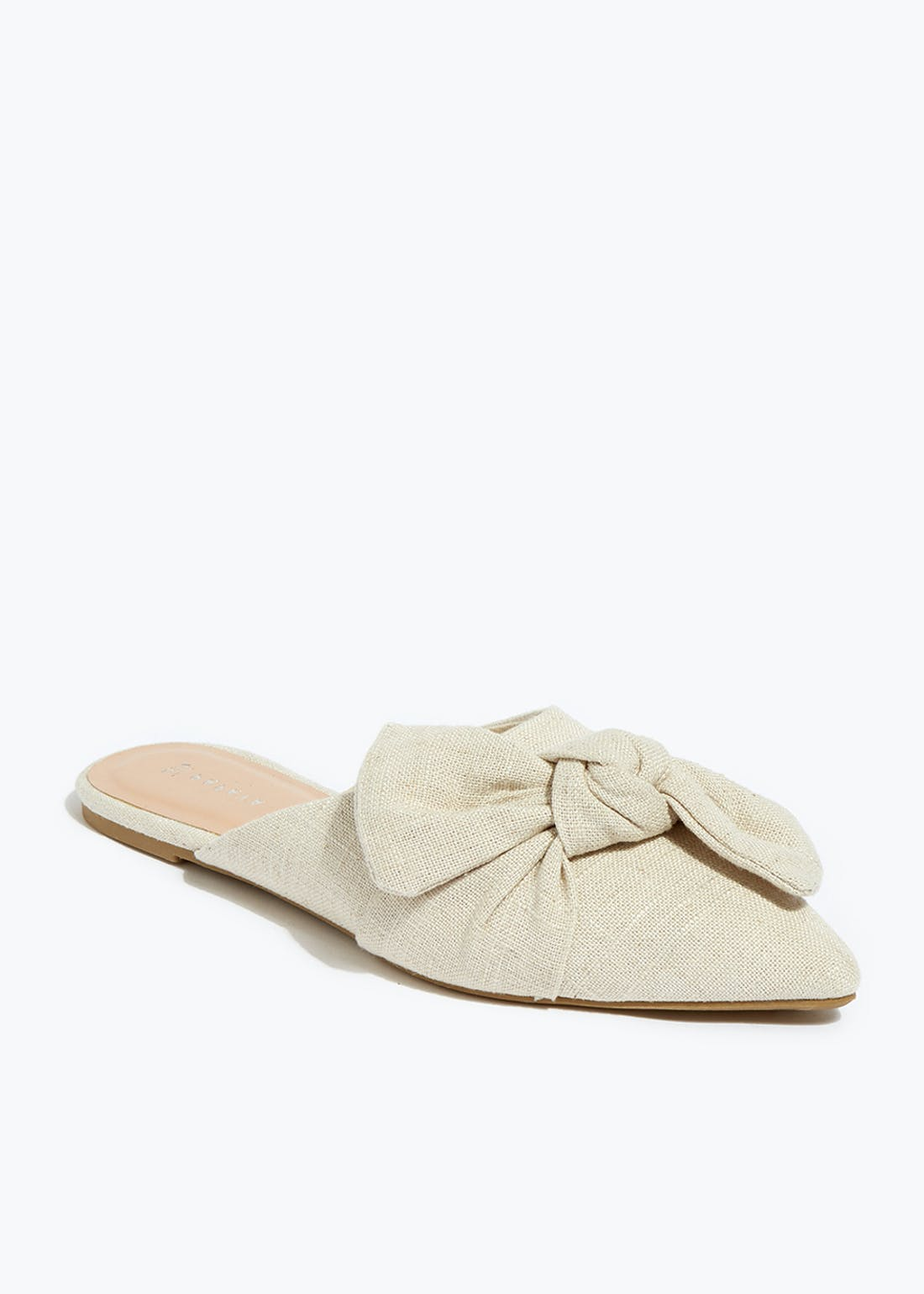 Cream Linen Bow Pointed Mules