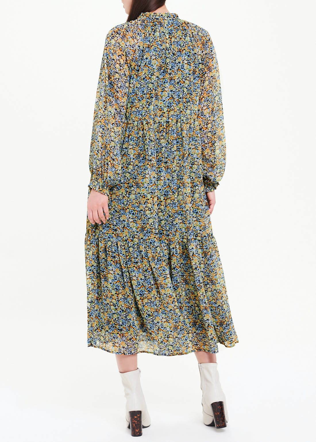 Tiered Ditsy Floral Midi Dress