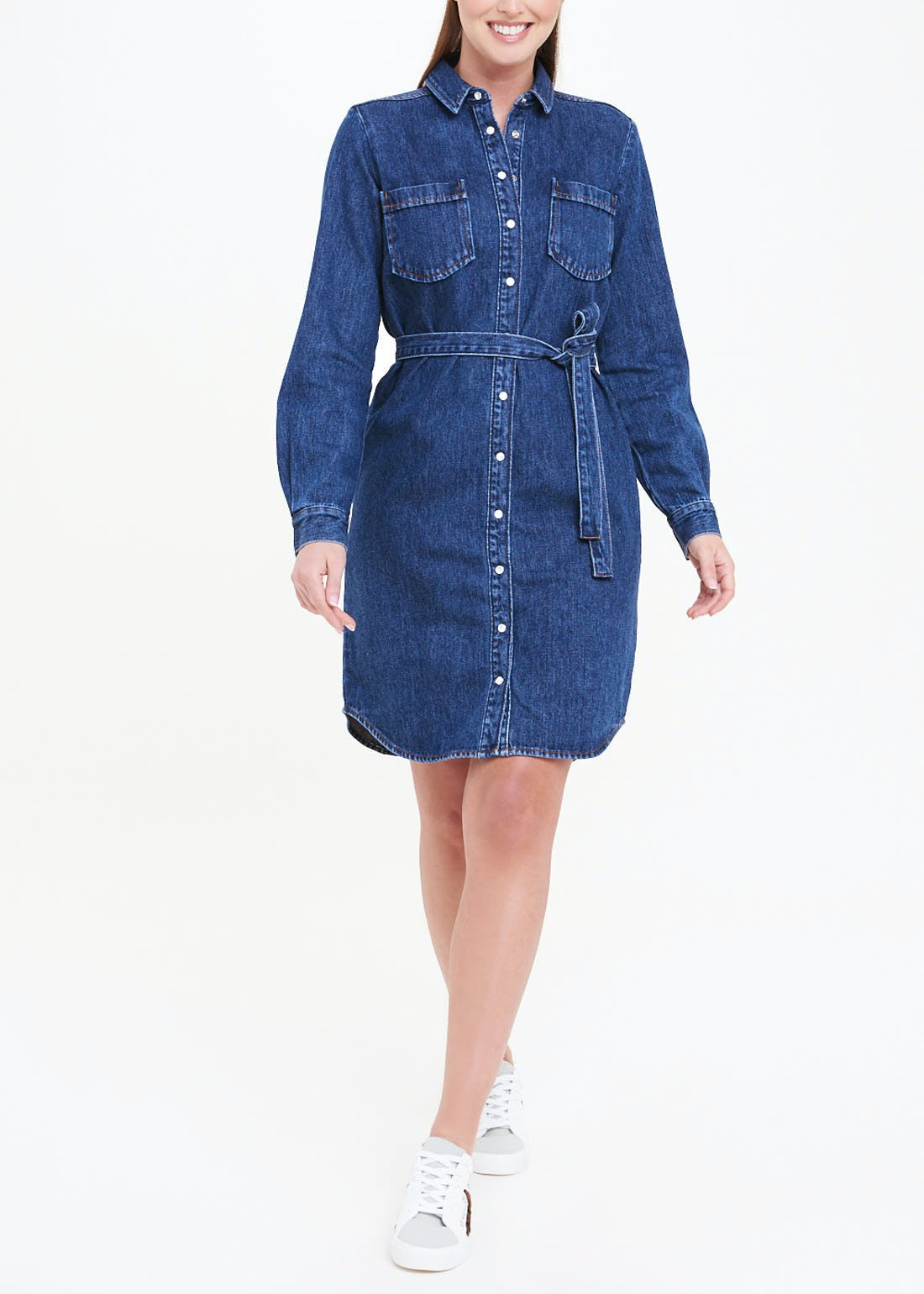 Denim Belted Mini Dress