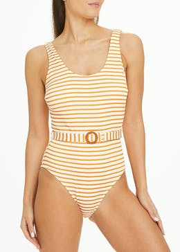 Stipe Belted Swimsuit