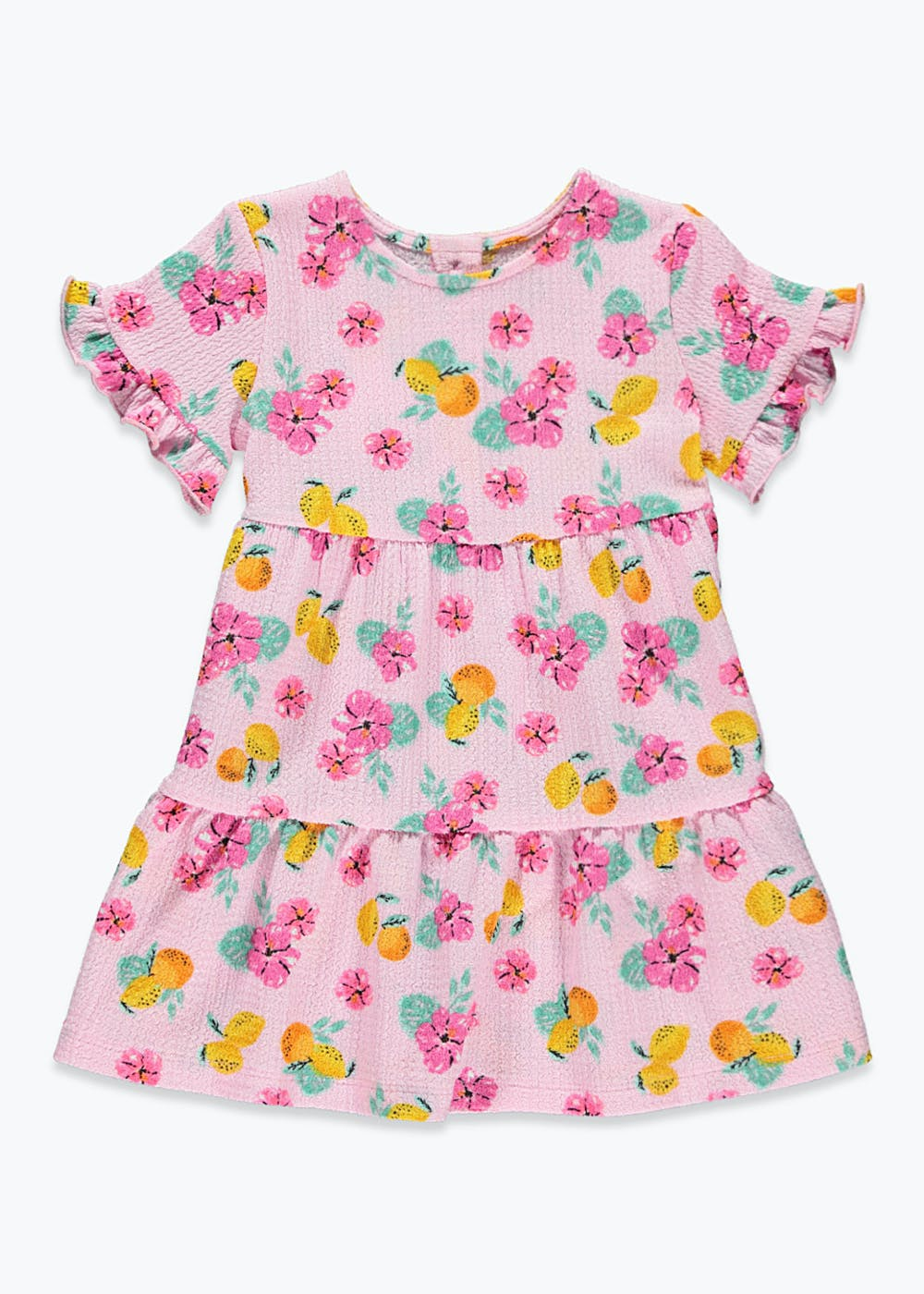 Girls Floral Tiered Crinkle Jersey Dress (9mths-6yrs) – Pink