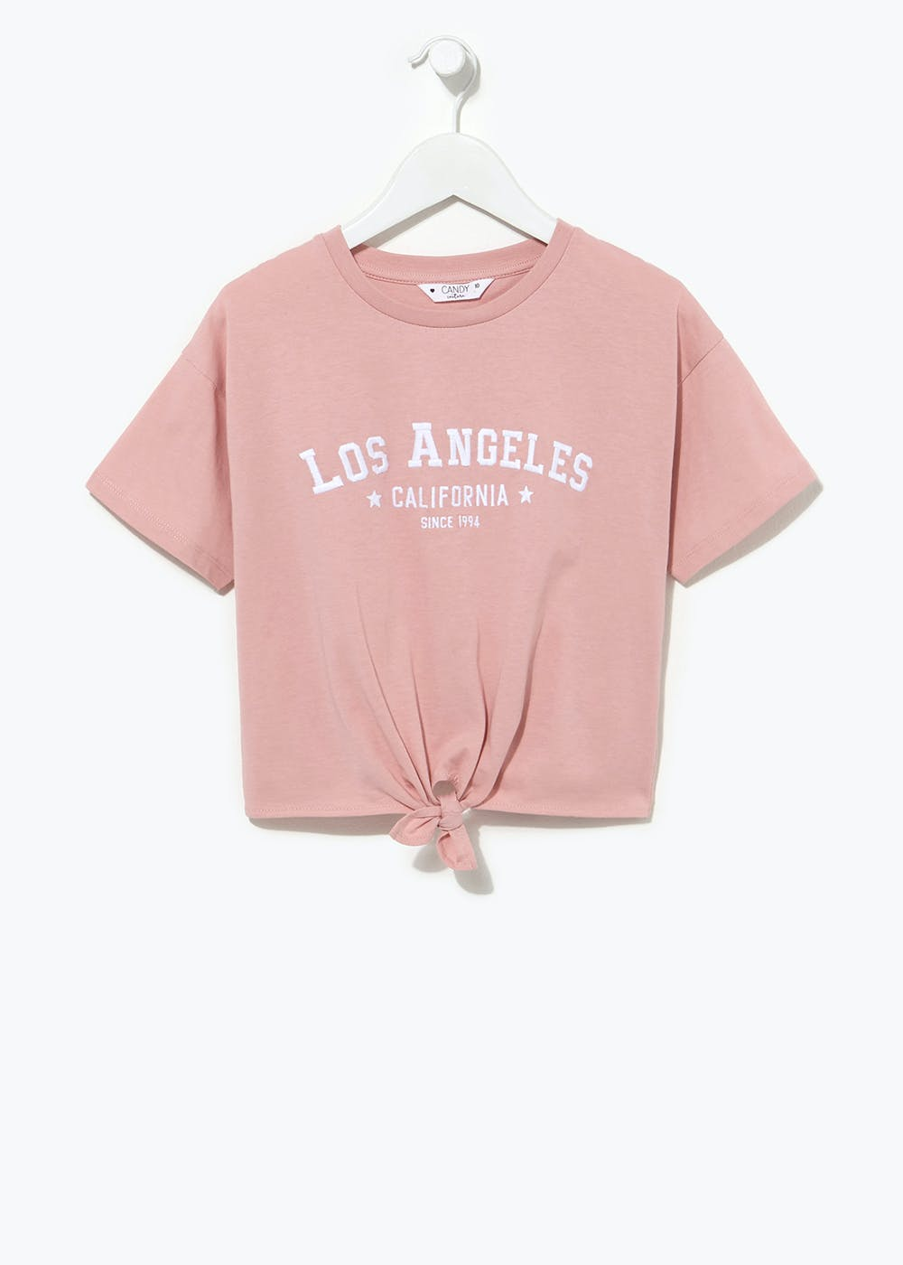Girls Candy Couture Cropped Tie Front T-Shirt (9-16yrs) – Pink