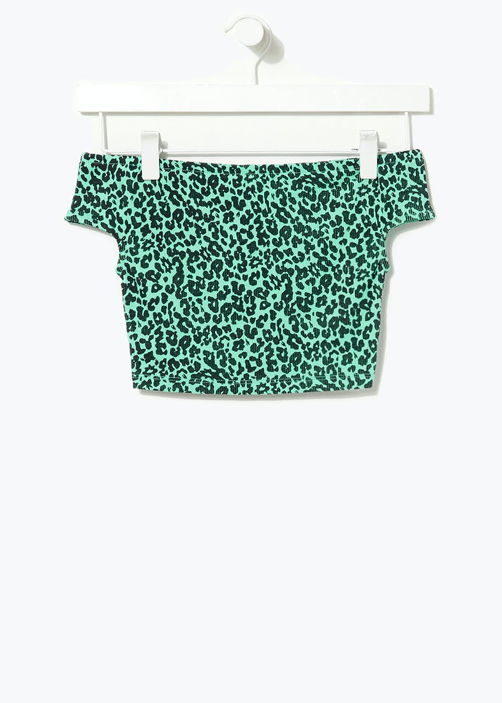 Girls Candy Couture Leopard Print Bardot Top (9-16yrs) – Green