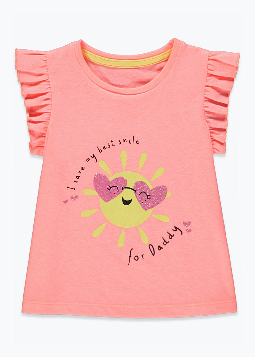 Girls Smile for Daddy T-Shirt (9mths-6yrs) – Coral