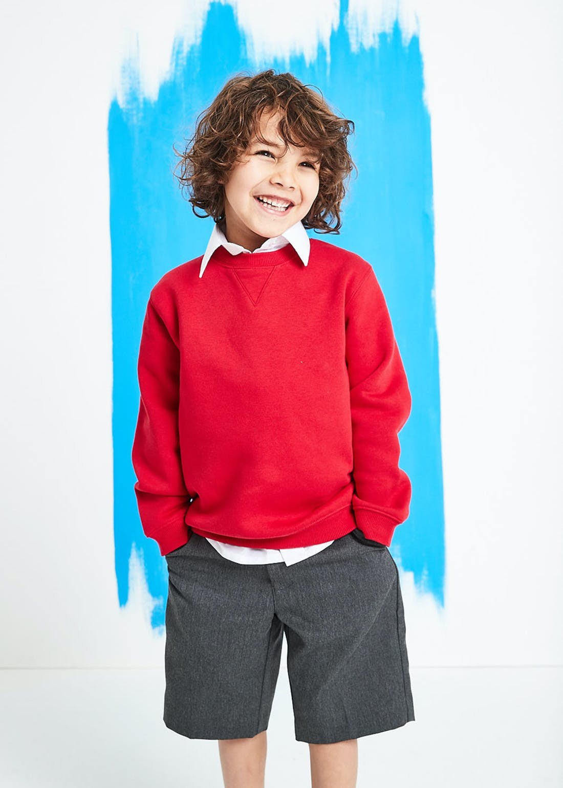 Kids Red Crew Neck School Sweatshirt (3-13yrs)