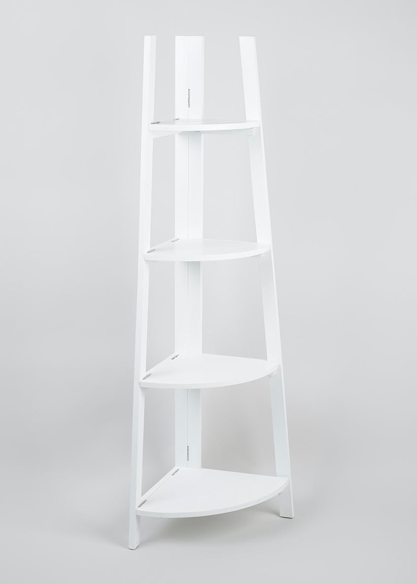 4 tier corner shelf unit 136cm x 53cm x 34cm white - White bathroom corner shelf unit ...