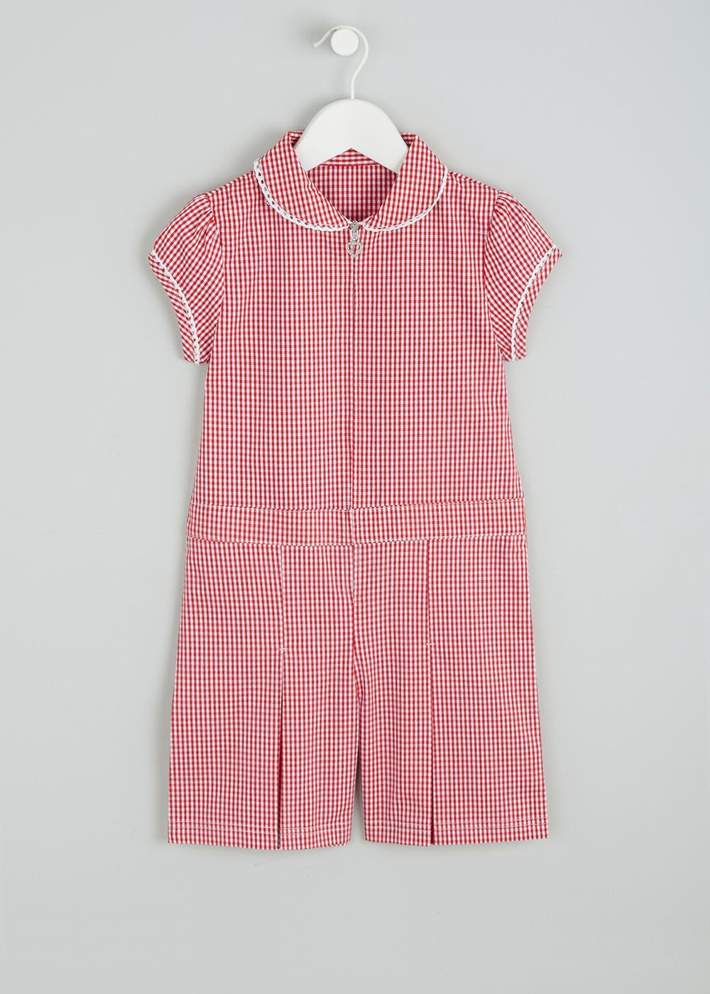 Girls Gingham School Playsuit & Scrunchie Set (3-13yrs) – Red – Matalan