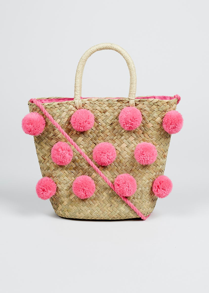 Girls Straw & Pom Pom Tote Bag (One Size)