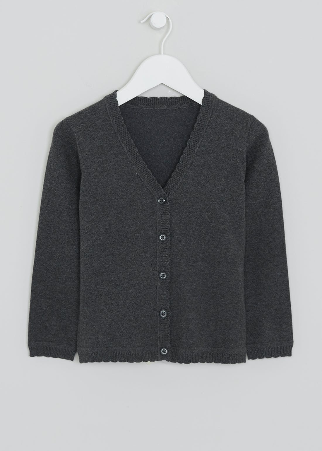 Girls Grey Scallop Edge School Cardigan (3-13yrs)