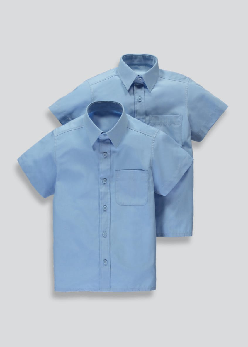 Boys 2 Pack Short Sleeve School Shirts (3-16yrs)