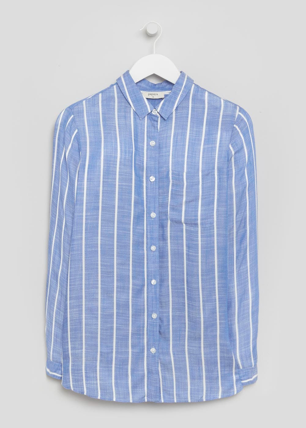 Long Sleeve Stripe Shirt – Blue – Matalan