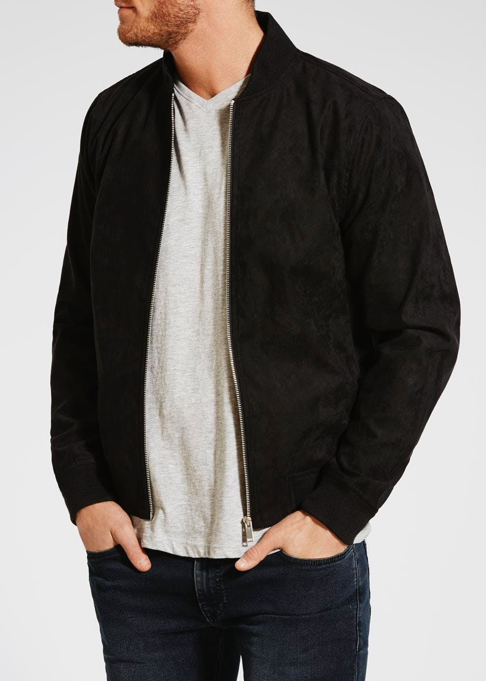 90b60db65 Faux Suede Bomber Jacket