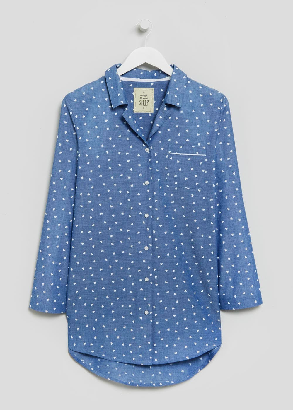 Heart Print Nightshirt – Blue – Matalan