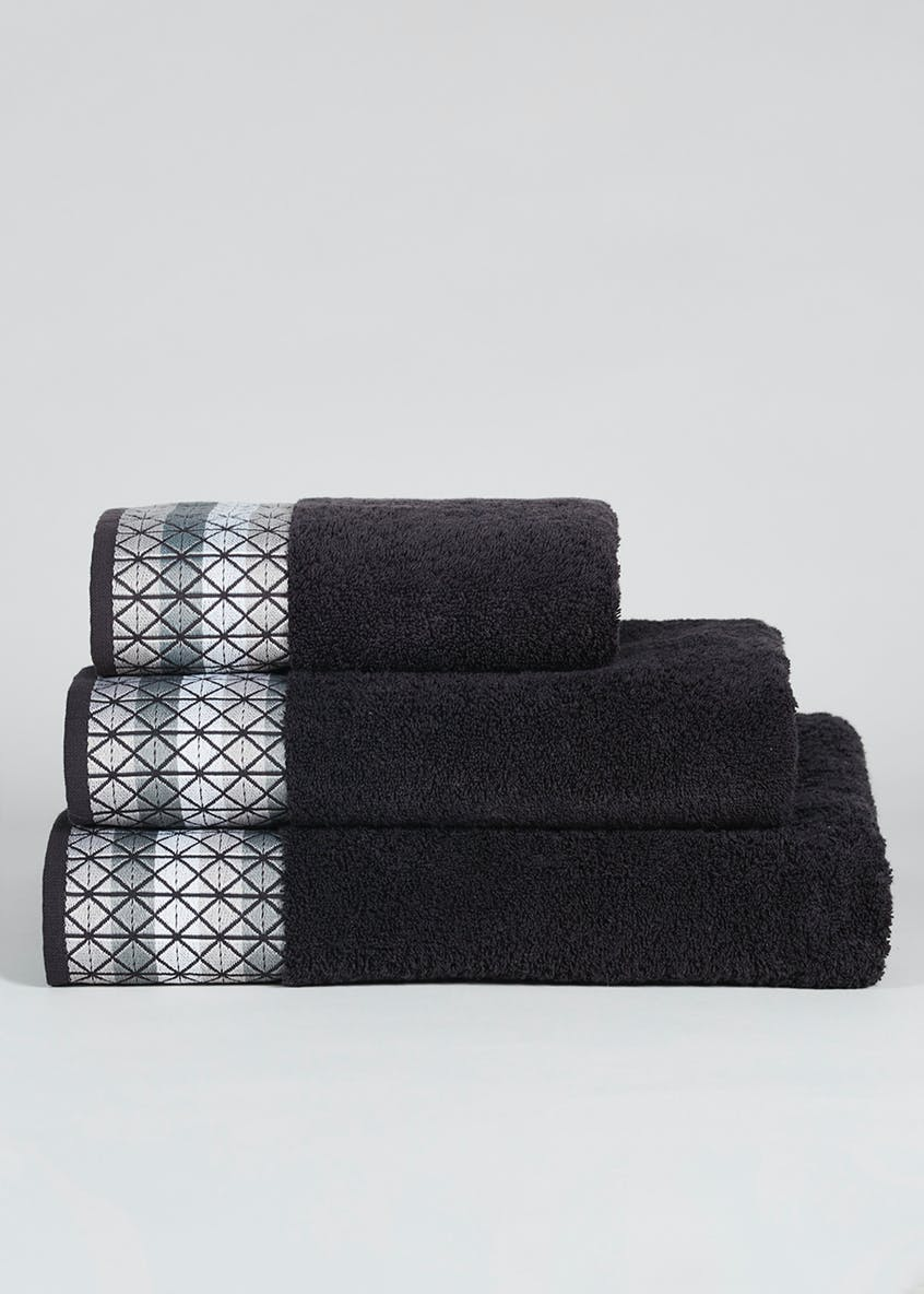 Stripe Embroidered Border Towels Black Matalan