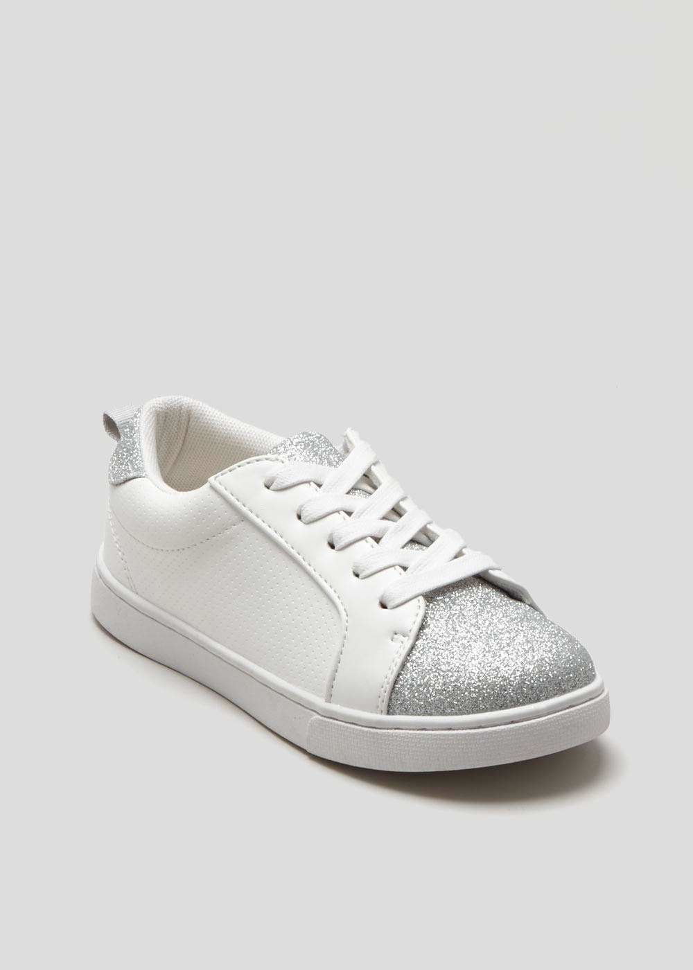 1780a35439caf Girls Glitter Detail Trainers (Younger 10-Older 5) – White – Matalan