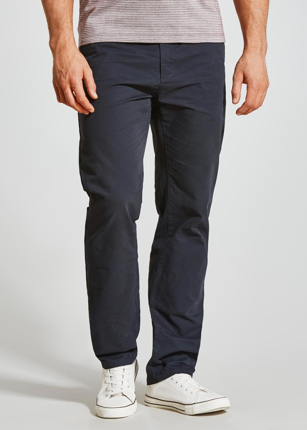 Straight Fit Chino Trousers Navy Matalan