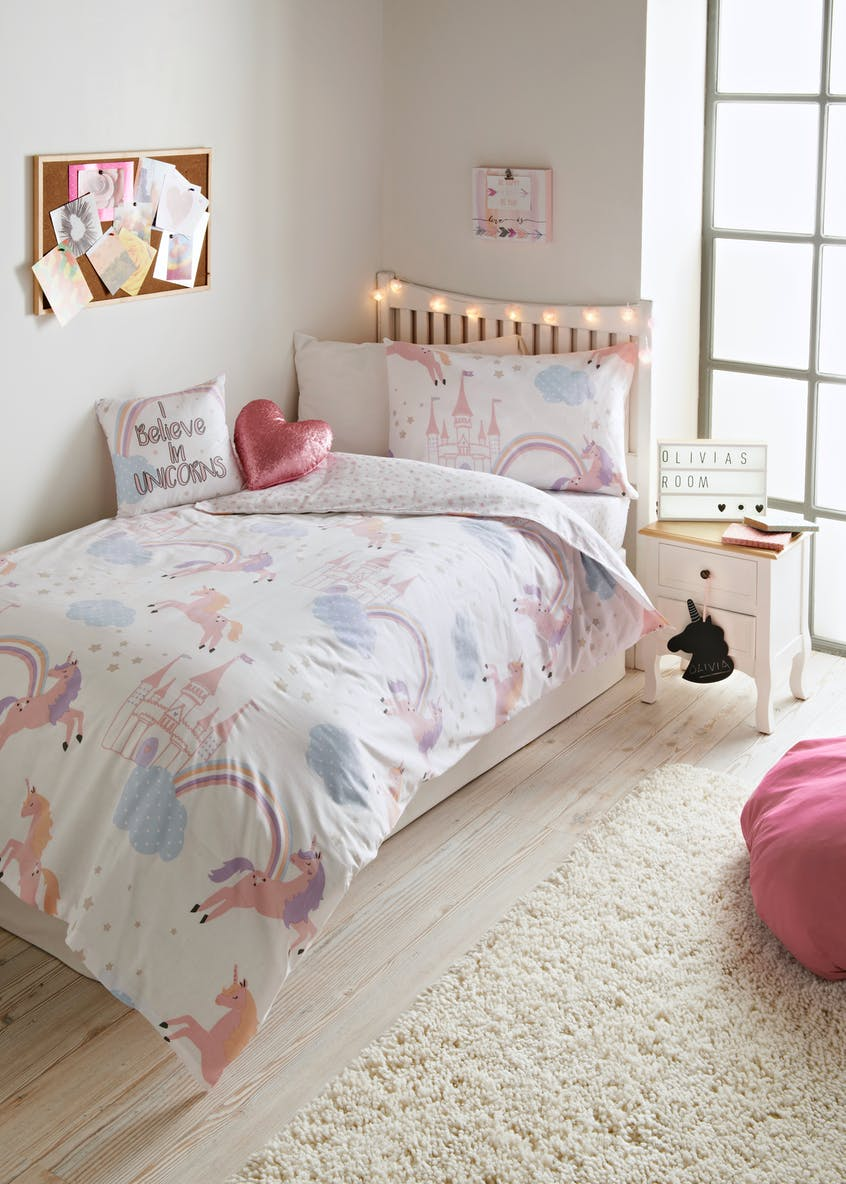 Kids Unicorn Print Single Double Duvet Cover Pink Matalan