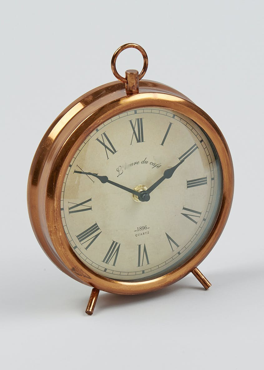 Round Antique Style Mantle Clock (19cm x 17cm)