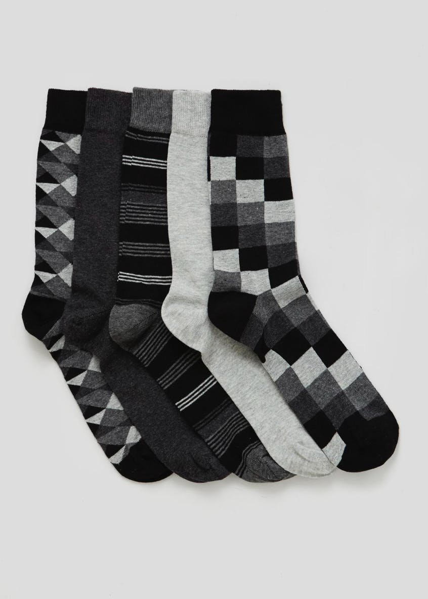 5 Pack Cotton Rich Design Socks