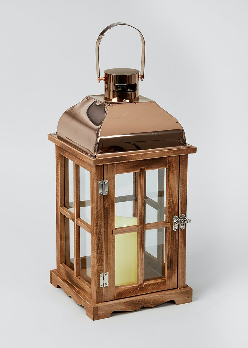 Lantern With LED Candle (40cm x 19cm x 19cm)