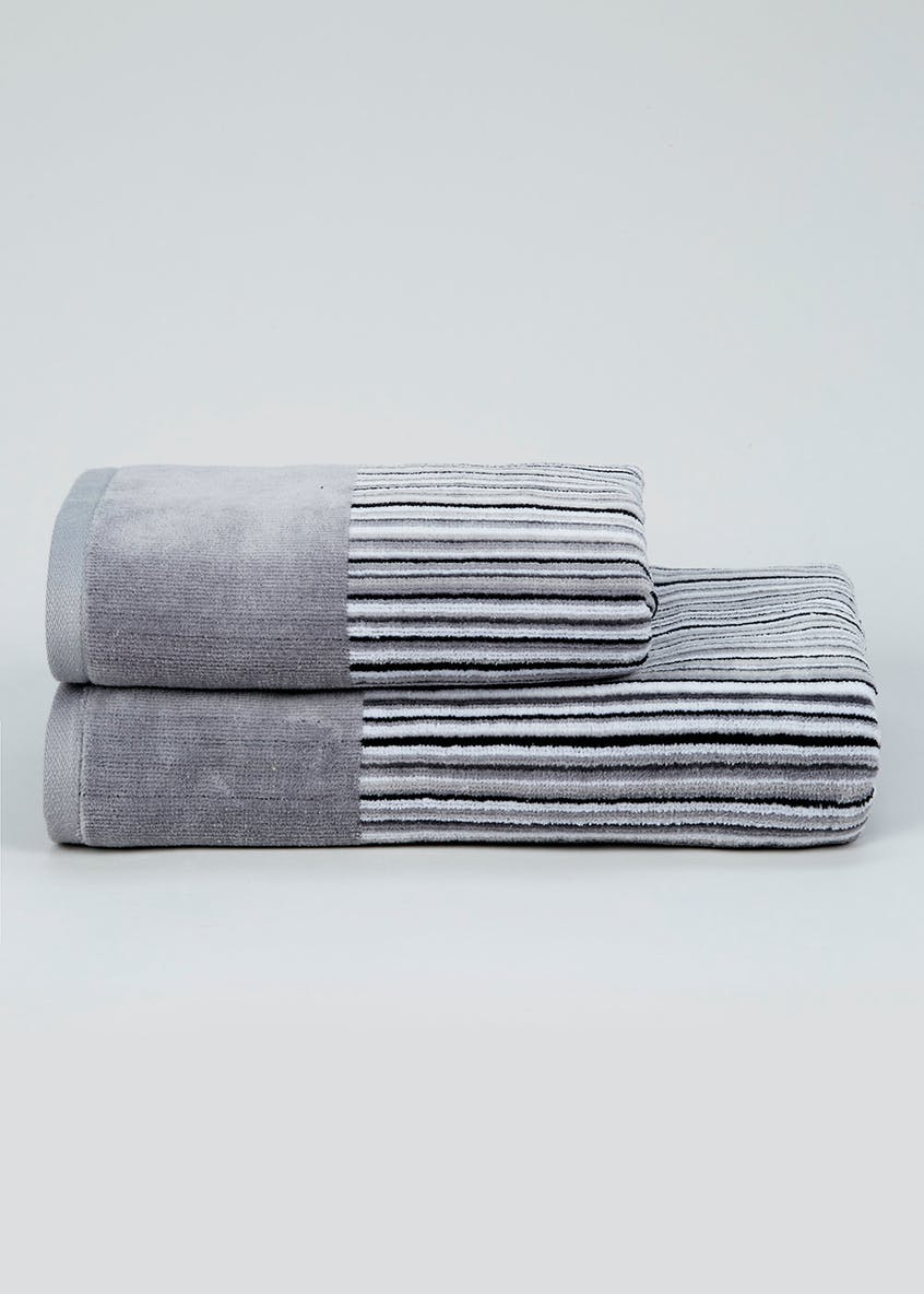 Super Soft Velour Stripe Towels