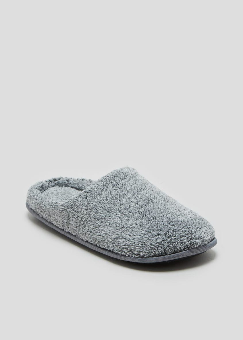 Grey Fluffy Mule Slippers