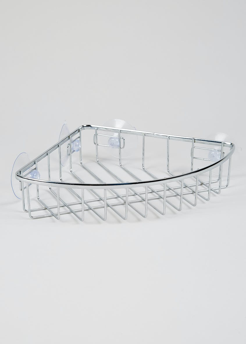 Wire Chrome Corner Shelf (32cm x 19cm x 5cm)